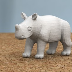 Download free 3D printing templates baby rhino, bs3