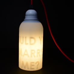 "Free 3d printer designs Secret message lamp ""WOULD YOU MARRY ME"", leFabShop"
