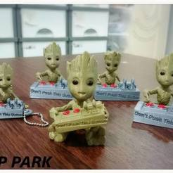STL gratis Baby Groot 5-1 (Don't Push This Button), 3DP_PARK