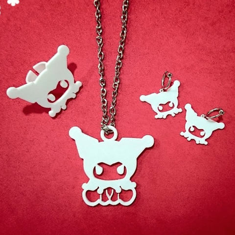 Download free STL file Kuromi accessories (Necklace, Earrings, Ring) • 3D printing object, 3DP_PARK