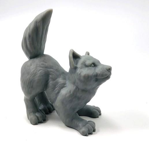Descargar modelo 3D gratis Wolfie: apoya la escultura del cachorro de lobo libre, loubie