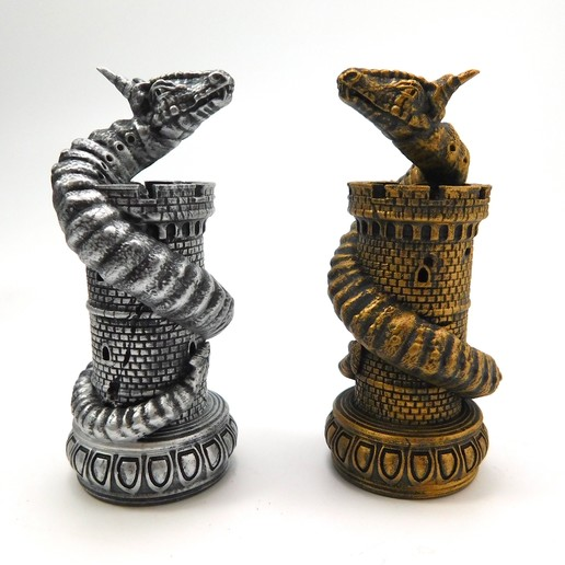 Télécharger fichier 3D Dragon Chess ! Le Wyrm (La Tour), loubie
