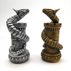 worms_2.jpg Download STL file Dragon Chess! The Wyrm (The Rook) • Object to 3D print, loubie