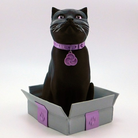 cults3d_cats3.jpg Download STL file SCHRODINKY: BRITISH SHORTHAIR CAT IN A BOX – 3D PRINTABLE, MULTI PART MODEL - SINGLE EXTRUSION PACKAGE • 3D printer design, loubie