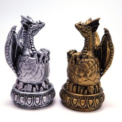 2dragons_1.jpg Download STL file Dragon Chess! Little Baby Dragon (The Pawn) • 3D printable template, loubie