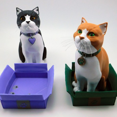 finished.jpg Download STL file Schrodinky: British Shorthair Cat in a Box – 3D Printable, Multi Part Model - MULTI EXTRUSION PACKAGE • Object to 3D print, loubie