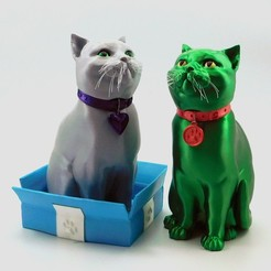 Download STL file SCHRODINKY: BRITISH SHORTHAIR CAT IN A BOX – 3D PRINTABLE, MULTI PART MODEL - SINGLE EXTRUSION PACKAGE • 3D printer design, loubie