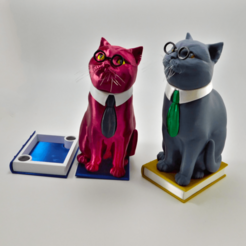 Download 3D model Murphy The Library Cat (with secret book box) -Single Material Package (Complete Single Material Model), loubie
