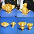 Free 3D print files Cute animal - lemur king potted, mingshiuan