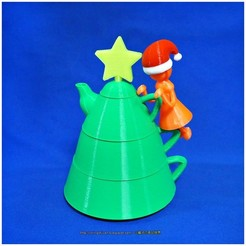 Descargar archivos STL gratis Juegos de té creativos de Navidad, mingshiuan