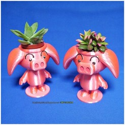 Diseños 3D gratis Cute animal - Rose pig potted, mingshiuan