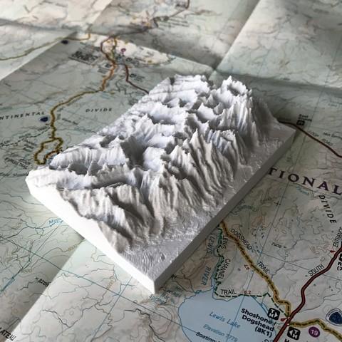 Modèle topographique généré avec l'outil Terrain2STL