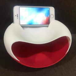 Download free 3D printing files Snackie-Versatile snackbowl + trashcan + phonestand, michaeledi