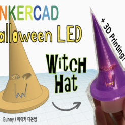 Download free 3D printing designs Halloween LED Witch Hat with Tinkercad, Eunny