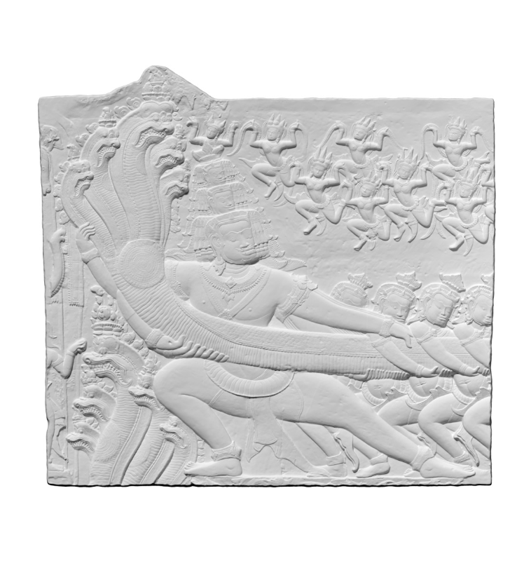 Capture d'écran 2018-09-13 à 17.12.15.png Download free OBJ file Plaster Cast of a section of the bas-relief of Angkor Wat depicting Samudra Manthan (Churning of the Ocean of Milk) • Model to 3D print, ThreeDScans