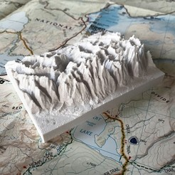 Plan imprimante 3D gatuit Carte topographique de Grand Teton, Wyoming, Pierre