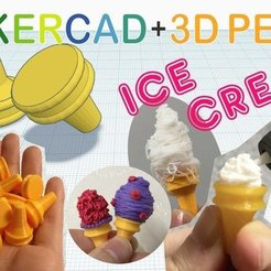 Download free 3D printer designs Ice Cream with Tinkercad +3D pen, Eunny