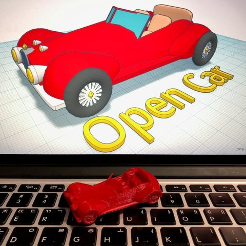 free stl open car with tinkercad cults. Black Bedroom Furniture Sets. Home Design Ideas