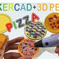 Modelos 3D para imprimir gratis Pizza en miniatura con Tinkercad + bolígrafo 3D, Eunny