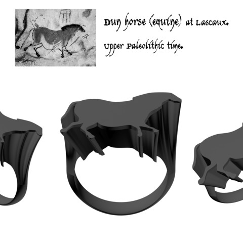 3D printer files Lascaux horse signet ring, josephkey