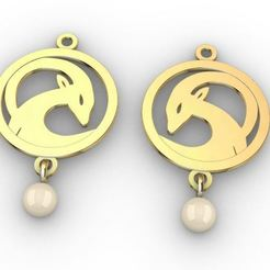 Pearl Earring tetritskaro.JPG Télécharger fichier STL Bouquetin et perle • Objet pour imprimante 3D, josephkey