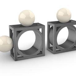 Square Pearls.JPG Télécharger fichier STL Bagues carrées avec perle • Plan imprimable en 3D, josephkey