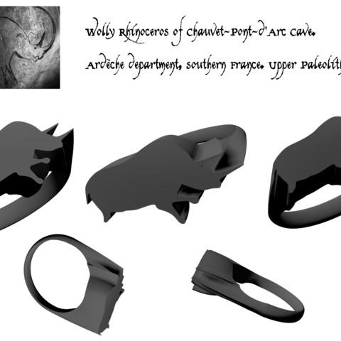3d print files Chauvet Rhinoceros signet ring, josephkey