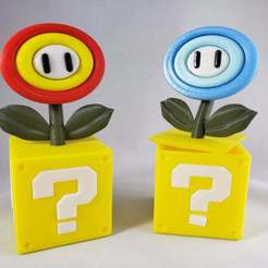 Download free 3D printing models Super Mario Fire/Ice Flower on Question Block, Dsk