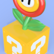 Fire_Flower_Render.png Download free STL file Super Mario Fire or Ice Flower with Switch card storage • 3D printing design, Dsk