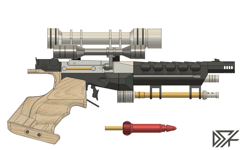 S5_Side.png Download free STL file Star Wars Naboo S5 Heavy Blaster Pistol • 3D printing design, Dsk
