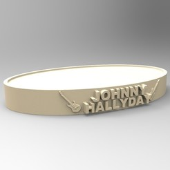 Free 3D printer designs NEW MODEL OVAL BASE JOHNNY HALLYDAY 2 GUITARS, thierry3D