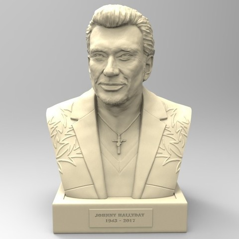 Download 3D printing templates JOHNNY HALLYDAY, thierry3D