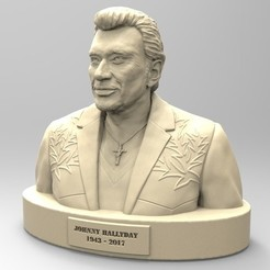 Download STL file JOHNNNY HALLYDAY 2nd version • 3D printable object, thierry3D