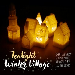 tealight winter village header.jpg Download STL file Tealight Winter Village • 3D printable model, tone001