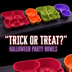 trickortreatbowls header.png Download free STL file Halloween 'Trick Or Treat?' party bowls • 3D printable template, tone001