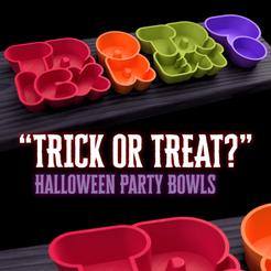 """trickortreatbowls header.png Télécharger fichier STL gratuit Bols de fête pour Halloween """"Trick or Treat ? • Plan pour imprimante 3D, tone001"""