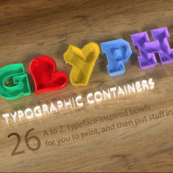 Download free STL file Typographic glyphs container collection • 3D printing template, tone001