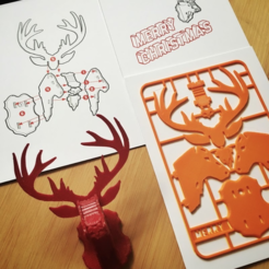 Download free 3D model Christmas Reindeer kit card, tone001