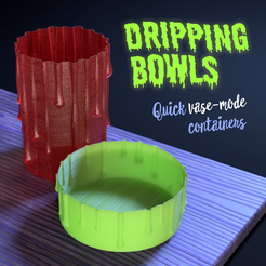 dripping vases header.png Download free STL file Halloween Dripping Bowls • Object to 3D print, tone001