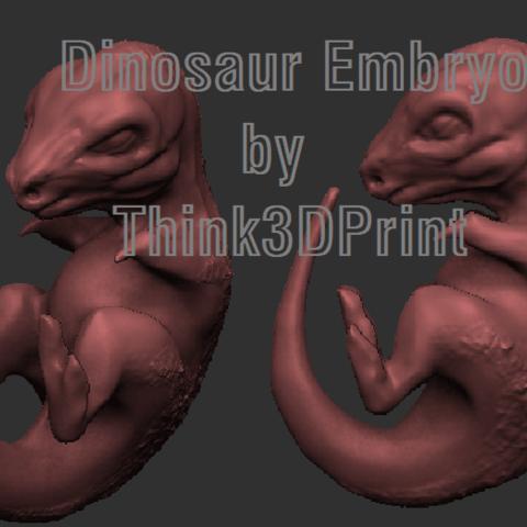 Dino Embryo THink3dprint.png Download STL file Baby Dinosaur - Sleeping • 3D printable model, Think3dprint