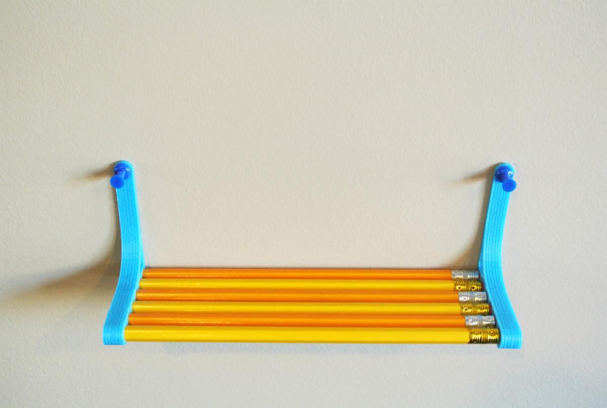 pencil_shelf02.jpg Télécharger fichier STL gratuit Pencil Shelf • Objet pour imprimante 3D, WallTosh