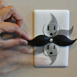 2.png Download STL file Mustache shaped outlet cover • 3D printable model, WallTosh