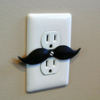 3.png Download STL file Mustache shaped outlet cover • 3D printable model, WallTosh