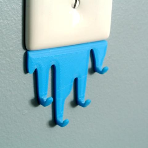 L_S03.png Télécharger fichier STL gratuit Liquid spill shaped hook • Modèle imprimable en 3D, WallTosh