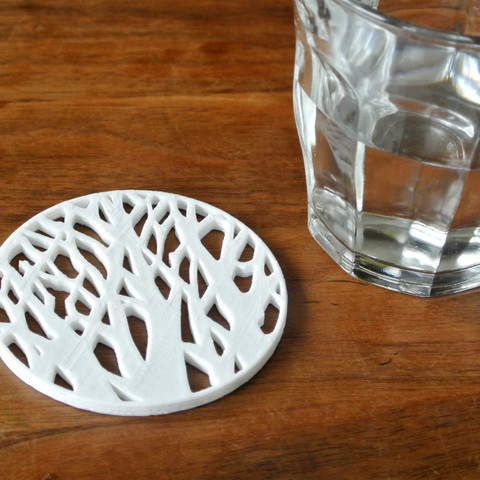 forest_coaster00.jpg Download free STL file Tree silhouette coaster • 3D printer template, WallTosh