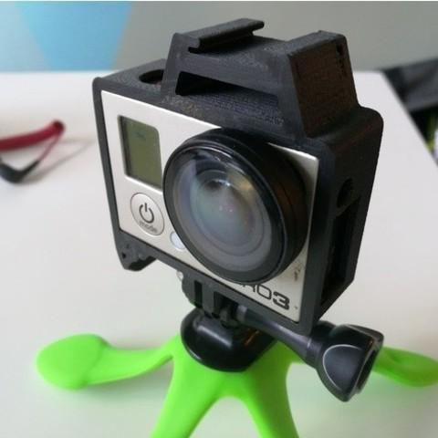 GoPro Hero Frame w Hot Shoe Mount3.jpg Download free STL file GoPro Hero Frame w Hot Shoe Mount • 3D printer object, DanielNoree