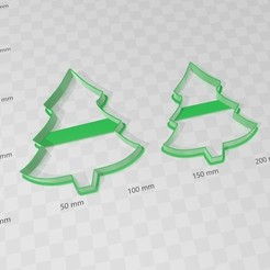 Download 3D printing designs Christmas tree, Christmas tree cookies cutters, abauerenator