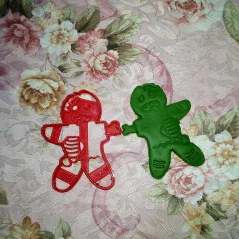 c639d805-9554-4166-85ea-947d9ee0191a.jpg Download STL file Gingerbread Zombie Cookies Cutter, Cortante de galletas Gingerbread Zombie • 3D printing model, abauerenator