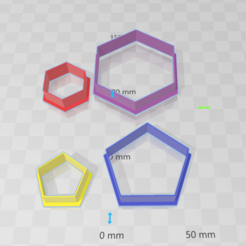 formasgeometricas.png Download STL file Hexagon and Pentagon Cookies Cutter 3 and 6cm • 3D printer model, abauerenator
