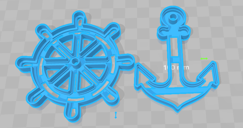 cortante timon y ancla.png Download STL file cortante galletas ancla y timon, cookies cutter anchor and  rudder • 3D printer object, abauerenator